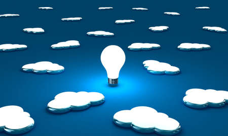 Many clouds with one lightbulb on a blue background Stock Photo - 14589669