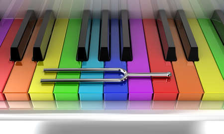 Illustration of a silver tuning fork on a multicoloured piano