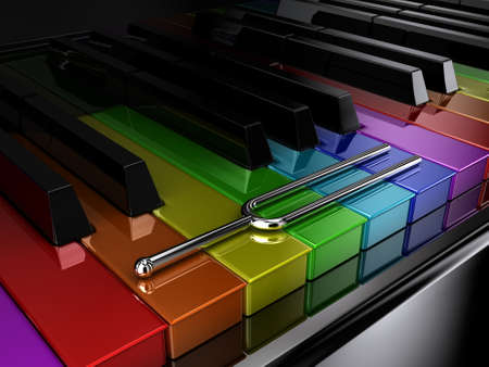 diapason: Illustration of a silver tuning fork on a multicoloured piano