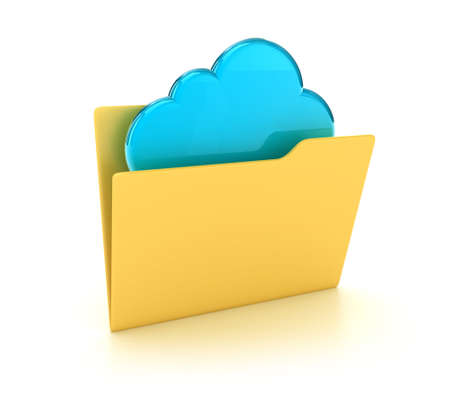 Illustration of a yellow folders with a blue cloud Stock Illustration - 14639867