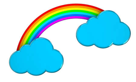 Illustration of blue clouds connected by a rainbow Stock Illustration - 14639865