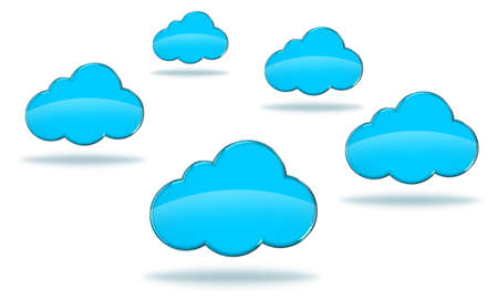 Illustration of blue clouds on a white background Stock Illustration - 14639869