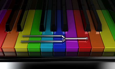 Illustration of a silver tuning fork on a multicoloured piano illustration