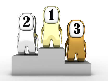 gainer: Illustration of three people standing on a podium for winners