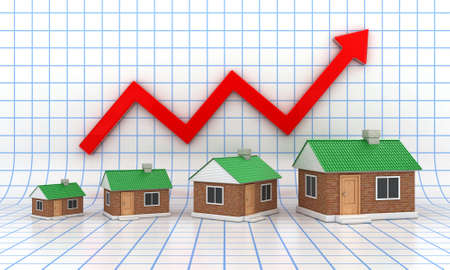 home prices: The small houses with a green roof on diagramme background