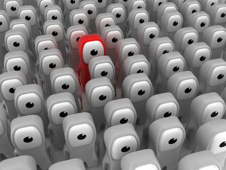 especial: Illustration of the especial person, standing in the middle of many others Stock Photo
