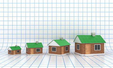 The small houses with a green roof on grid background Stock Photo - 14790515