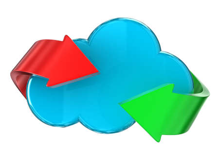 Illustration of a blue cloud with different arrows Stock Illustration - 15550346