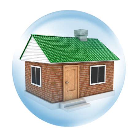 cleaning debt: Illustration of house with a green roof in soap bubble Stock Photo