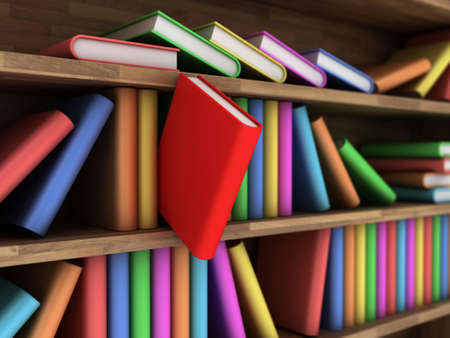 shelf with books: Illustration of a bookcase with a books different colour Stock Photo