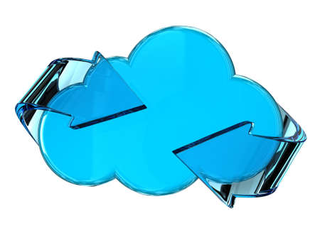 Illustration of a blue cloud with glass arrows illustration