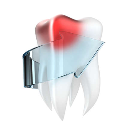 Illustration of painful tooth with a arrow on a white background illustration