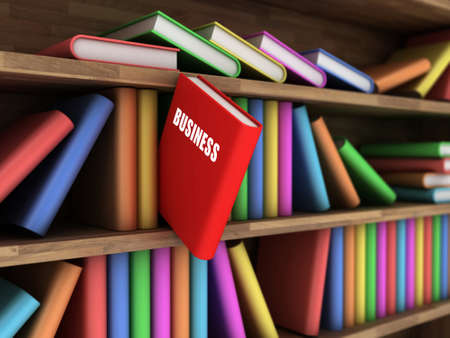 bookshop: Illustration of a bookcase with a red business book