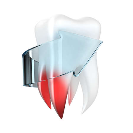 carious: Illustration of painful tooth with a arrow on a white background Stock Photo
