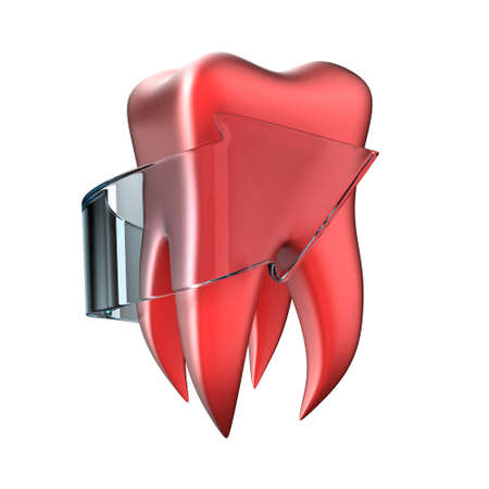 sore: Illustration of painful tooth with a arrow on a white background Stock Photo
