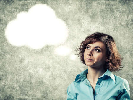 Cloud of thoughts from a head of the beautiful girl Stock Photo