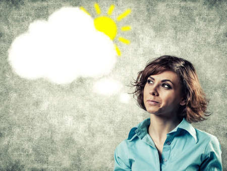 thinks: Cloud of thoughts from a head of the beautiful girl Stock Photo