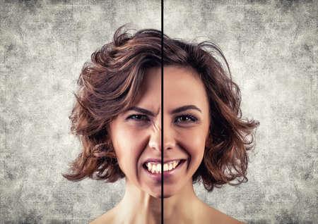 las emociones: una chica con un diferentes emociones en la cara