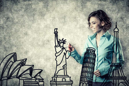 tower of pisa:   the smiling girl drawing different sights