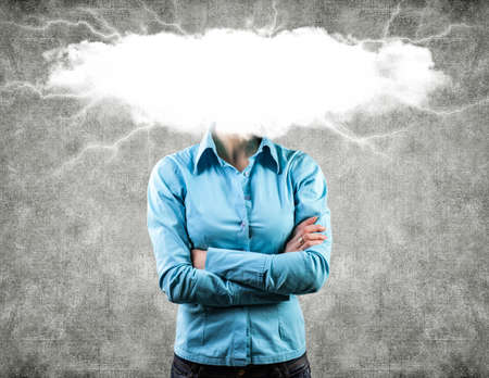 dangerously: Photo of the girl with a white cloud on a head Stock Photo