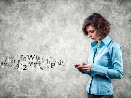 Girl with phone and letters flying forward Stockfoto