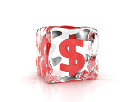 Frozen dollar inside an ice cube on a white background