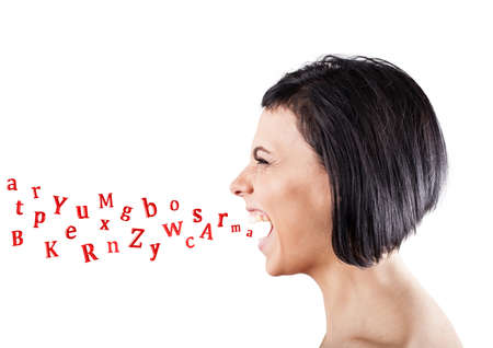 Malicious girl shouts and letters fly from a mouth photo