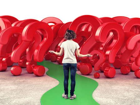 interrogativa: Chica antes de una serie de preguntas rojos en el miedo a lo desconocido