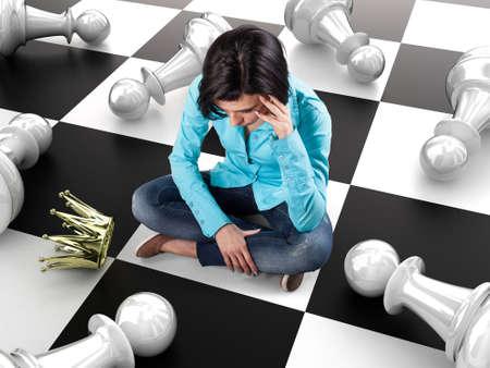 Mädchen mit einer goldenen Krone sitzt auf einem Schachbrett