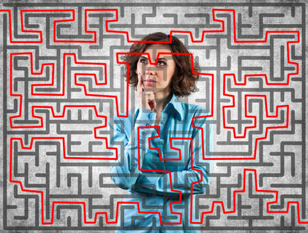 difficult to find: Photo of the girl before a difficult labyrinth