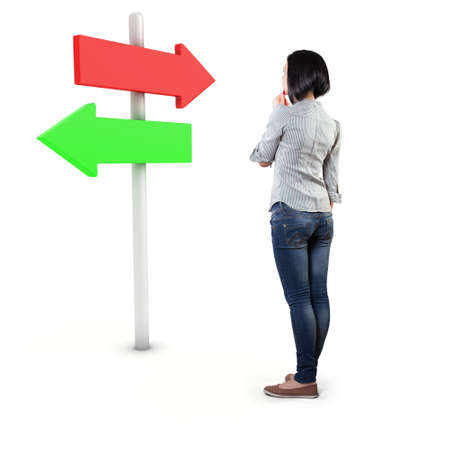 Girl before a white roadsign in fear of the unknown Stock Photo - 18936173