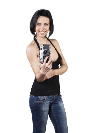 foto: Beautiful girl stand with camera in hands