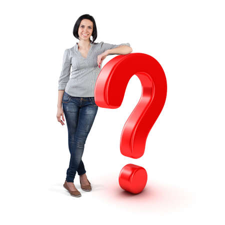 Beautiful girl stand with big question symbol Stockfoto