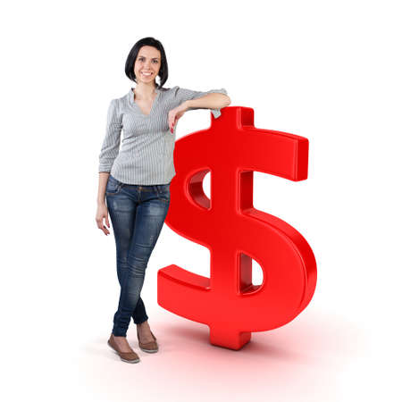 Beautiful girl stand with a big dollar symbol Stockfoto