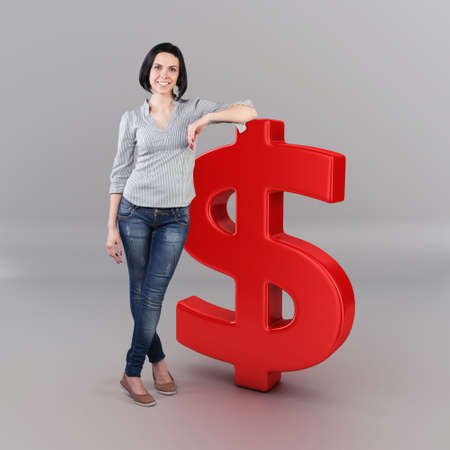 Beautiful girl stand with a big dollar symbol Stock Photo - 19404811