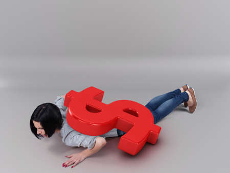 lay: Beautiful girl lay under a big dollar symbol Stock Photo