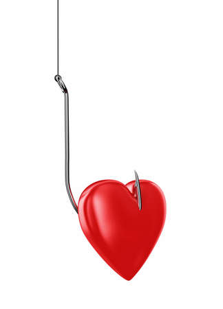 deceit: Red heart on a big metal sharp hook