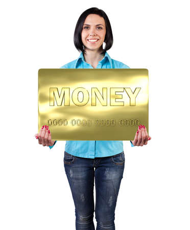 Smiling girl with a big card in hands Stock Photo - 19811475