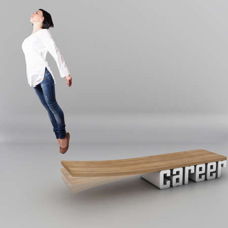 career woman: Beautiful girl, jumping in a wooden board
