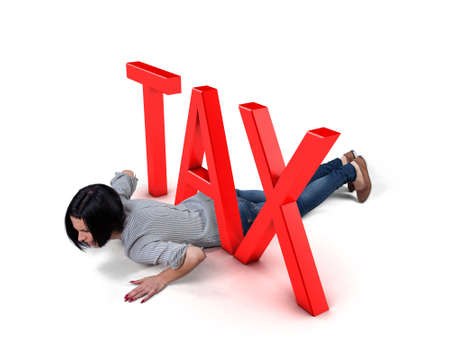 Beautiful girl lay under a big red tax Stock Photo - 22421229