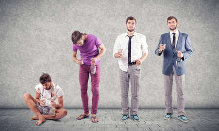 intoxication: Degradation from the normal man in the alcoholic Stock Photo