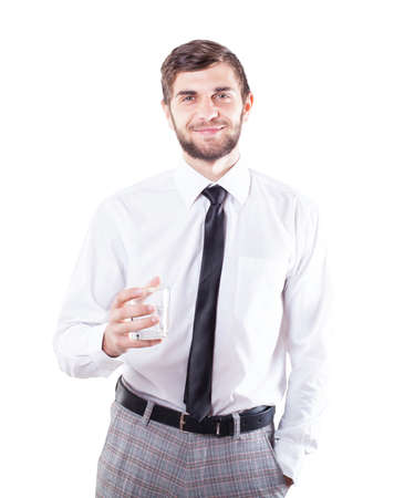 tells: The young man with a glass tells a toast Stock Photo