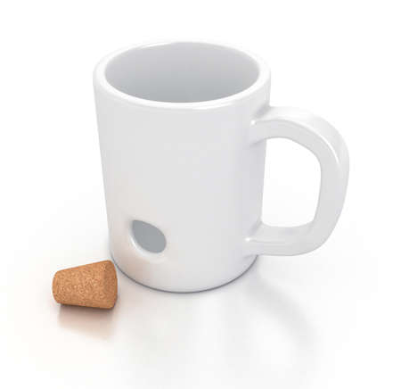 bung: Illustration of a white mug with an hole