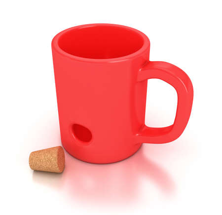 bung: Illustration of a red mug with an hole Stock Photo