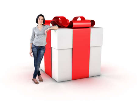 The girl stand near a big gift with a red ribbon photo