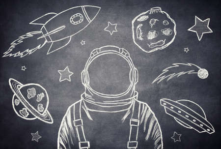 chalk drawing: Empty suit astronaut on a background of outer space Stock Photo