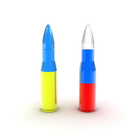 arming: Illustration of cartridges in the form of flags of two countries Stock Photo