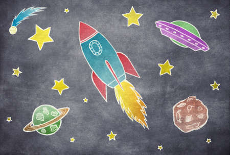 fly cartoon: Illustration of cosmos with rocket and planets Stock Photo
