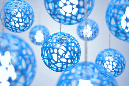 hangs: Chandeliers of blue colour hang on a wire Stock Photo