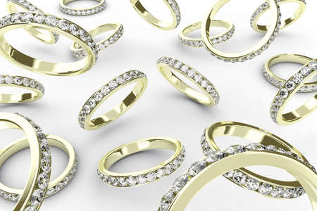 assent: Illustration of a golden rings with many brilliants